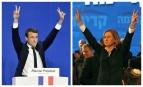 Emmanuel Macron en 2017 à gauche et Tzipi Livni en 2009 à droite. Photos: SIPA 00803613_000038 / 00574518_000004