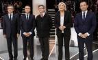 François Fillon, Emmanuel Macron, Jean-Luc Mélenchon, Marine Le Pen et Benoît Hamon lors du premier débat de la présidentielle, mars 2017. SIPA. AP22029732_000008