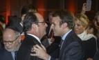 François Hollande et Emmanuel Macron au diner du CRIF, janvier 2017. SIPA. AP22017908_000001