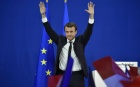 Emmanuel Macron fête son accession au second tour de la présidentielle, Paris, 23 avril 2017. SIPA. 00803585_000027