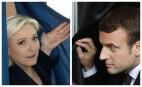 Marine Le Pen et Emmanuel Macron sortent de l'isoloir, 23 avril 2017. SIPA.