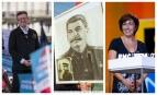 Jean-Luc Mélenchon, un portrait de Staline et Ruth Elkrief, SIPA. 00801640_000002 / AP20016345_000002 / 00722133_000024