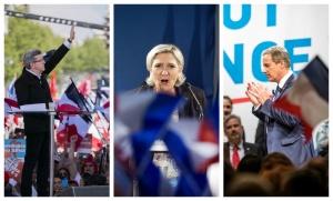 Jean-Luc Mélenchon, Marine Le Pen et Nicolas Dupont-Aignan en campagne. SIPA. 00801611_000013 / 00801640_000008 / 00801611_000013