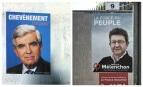 L'affiche de campagne de Jean-Pierre Chevènement en 2002 et celle de Jean-Luc Mélenchon en 2017. SIPA. 00802554_000002 / AP20038497_000001