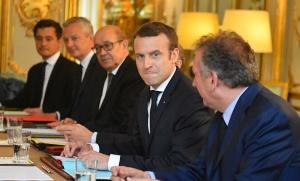 Emmanuel Macron lors de son premier conseil des ministres, Paris, 18 mai 2017. SIPA. 00807142_000015