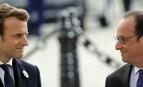 Emmanuel Macron et François Hollande lors de la cérémonie du 8 mai, Paris, 2017. SIPA. AP22049921_000002