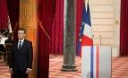 Emmanuel Macron lors de son investiture dans la Salle des Fêtes de l'Elysée, 14 mai 2017. SIPA. 00806481_000080