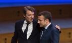 François Baroin et Emmanuel Macron lors d'une réunion de l'Association des maires de France, mars 2017. SIPA. 00799187_000001