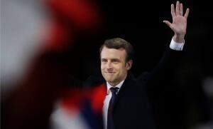 Emmanuel Macron célèbre sa victoire au Louvre, 7 mai 2017. Crédit photo : Denis Meyer