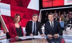 Léa Salamé, David Pujadas et Emmanuel Macron sur le plateau de L'Emission politique, avril 2017. SIPA. 00801361_000035
