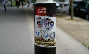 Autocollant laissé par une manifestation du 1er mai à Paris. SIPA. 00805068_000015