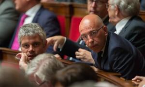 Laurent Wauquiez et Eric Ciotti à l'Assemblée nationale, mai 2016. SIPA. 00758400_000024