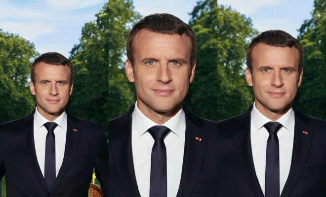 photo officielle portrait de macron en julien sorel causeur. Black Bedroom Furniture Sets. Home Design Ideas