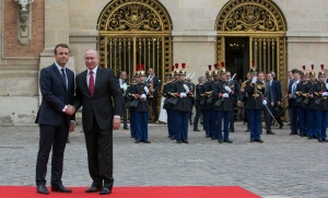 Emmanuel Macron et Vladimir Poutine à Versailles, mai 2017. SIPA. 00809405_000011