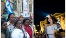 A gauche, des femmes de ménage en grève; à droite, le diner en blanc du 1er juin à Paris (SIPA: 00809466_000005)