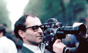 Jean-Luc Godard filmant la manifestation des étudiants à Paris, 1968. SIPA. 00418430_000003