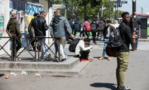 Evacuation de migrants Porte de la Chapelle, Paris le 9 mai 2017 ©Joel Goodman/LNP/REX/Shutterstock