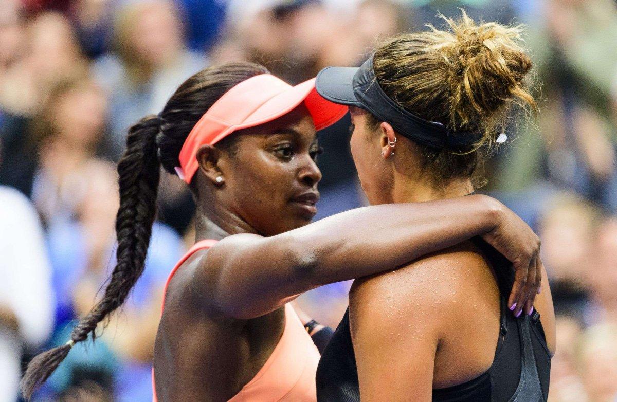 Sloane Stephens (à gauche) et Madison Keys (à droite) en finale de l'US Open 2017. SIPA. Shutterstock40544435_000016