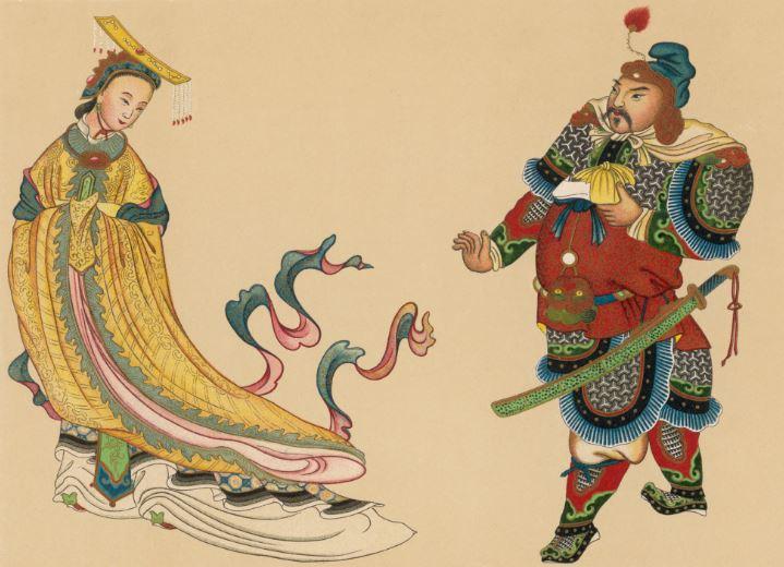 L'impératrice Wu Zetian (période Tang, fin du VIIe siècle), dépeinte aux côtés du général Yue Fei (héros de la dynastie Song, XIIe siècle), gravure de 1903 / Mary Evans/Rue des Archives