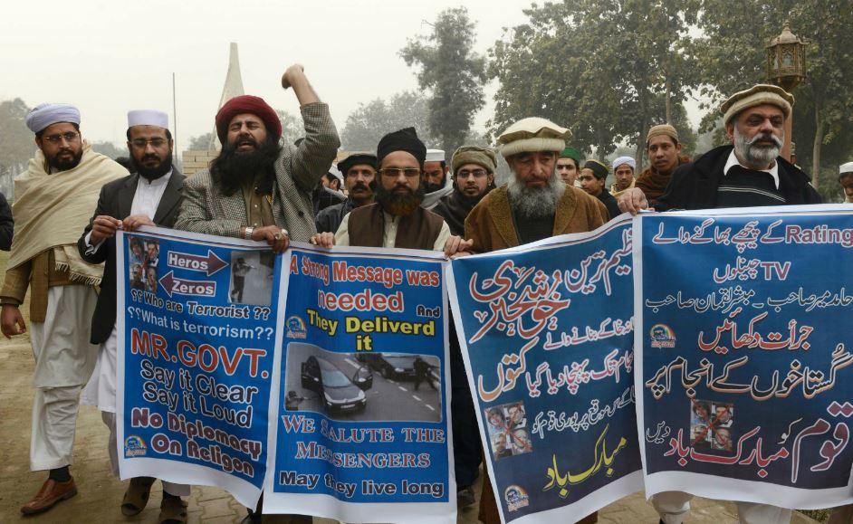 Rassemblement de soutien aux frères Kouachi à Pashawar, au Pakistan, 13 janvier 2015. / A MAJEED
