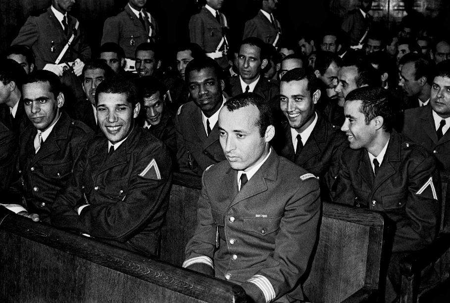 """Procès des responsables du """"coup d'Etat des aviateurs"""" contre le roi Hassan II, mené par le général Oufkir, 29 juin 1972. / GHARBIT/SIPA 00523645_000010"""