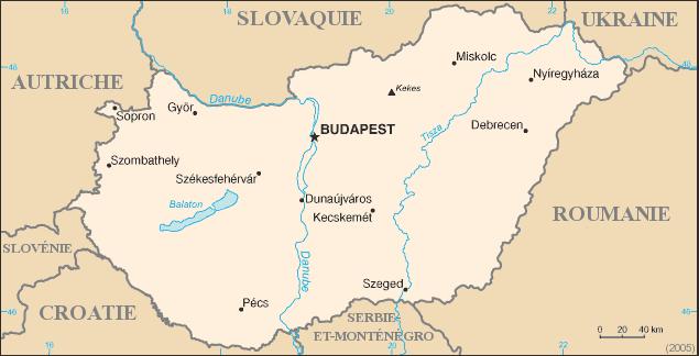 Carte de la Hongrie. Fond de carte provenant de la CIA