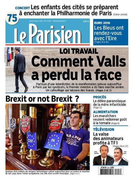 """La Une du """"Parisien"""", 23 juin 2016."""