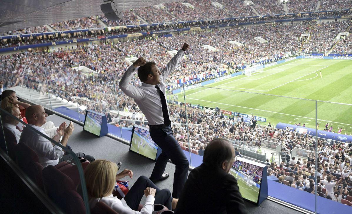 Emmanuel Macron lors de la finale de la Coupe du Monde de football entre la France et la Croatie, 15 juillet 2018. SIPA. AP22226029_000001