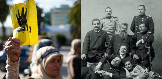 Une manifestante brandit le signe de la rabia, signe de ralliement des Frères musulmans, en Tunisie, 2013. SIPA. SIPAUSA30097170_000016  / Des membres de La Main noire serbe (Début XXe siècle / D.R.)