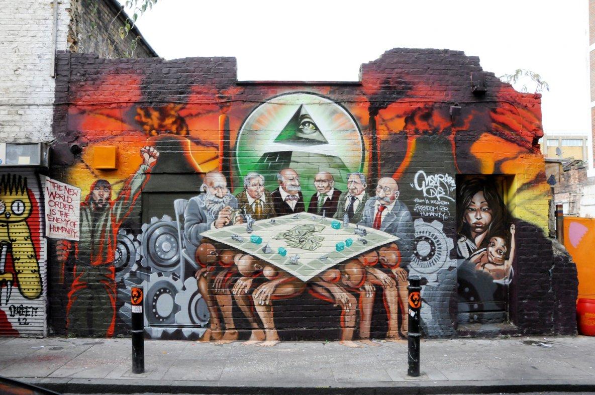 """""""Freedom for humanity"""", fresque murale de l'artiste américain Mear One, dont Jeremy Corbyn avait pris la défense. ©D.R."""