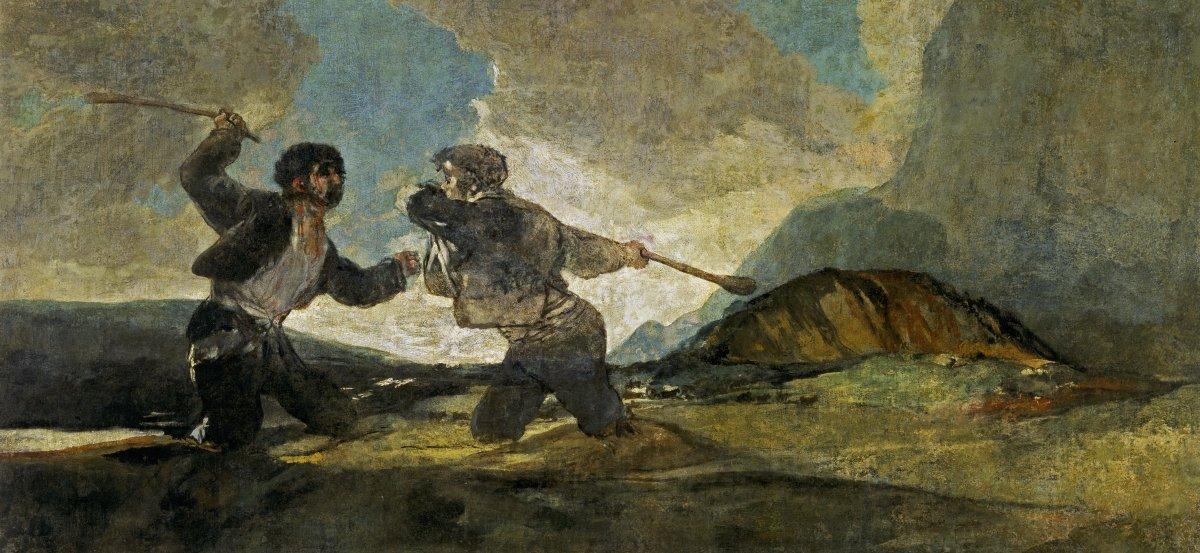 """""""Duel à coups de gourdin"""", Francisco de Goya (1820-1823) ©Domaine public"""