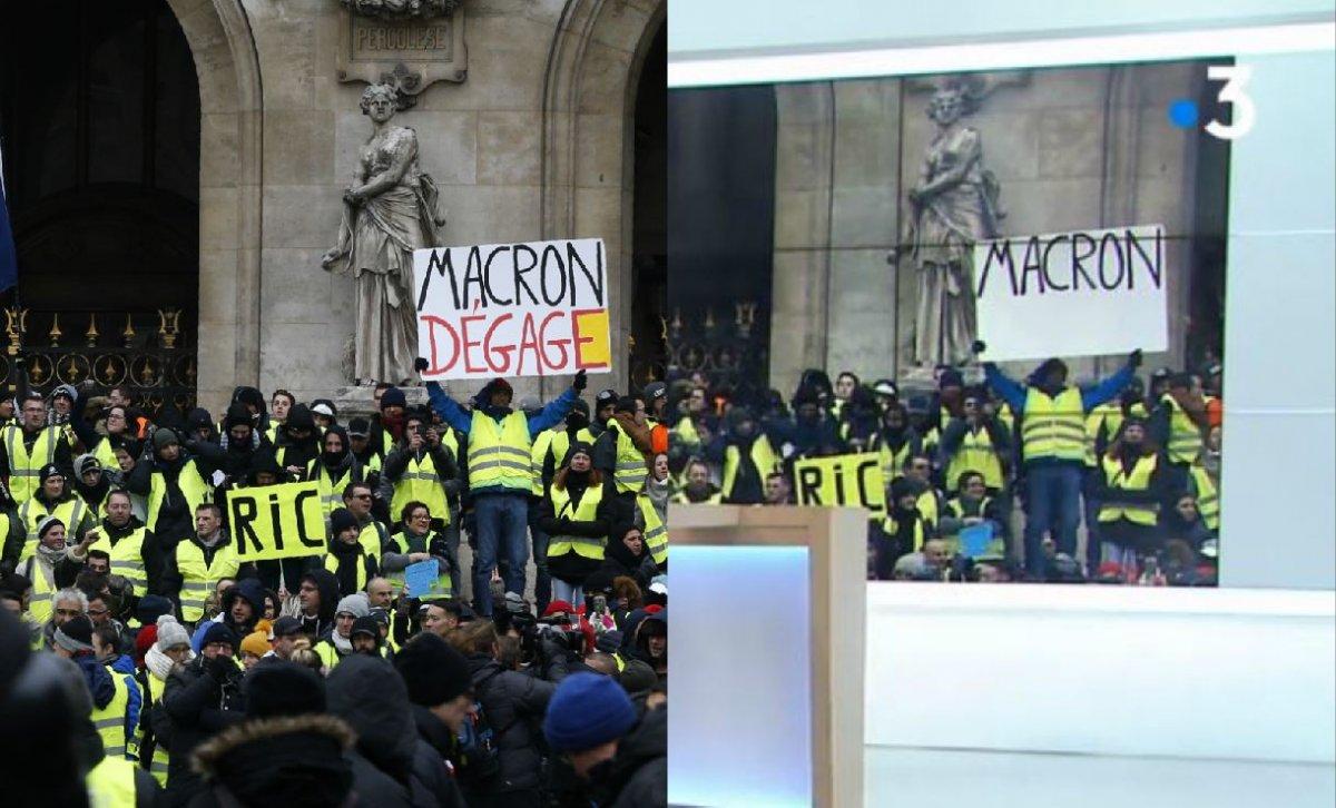 «Plus c'est gros et mieux ça passe» dit-on  Macron-degage-france-televisions-censure-1200x726