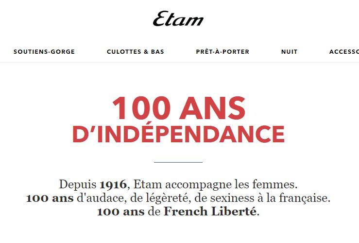 Capture d'écran du site Etam.com