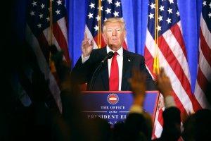 "Première conférence de presse de Donald Trump à New York, 11 janvier 2017: ""You are fake news"". Photo: Spencer Platt/Getty Images/AFP"