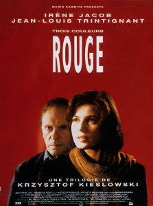 Affiche du film Trois couleurs : Rouge (Red) de Krzysztof Kieslowski avec Irene Jacob et Jean Louis Trintignant (1994). Photo: D.R.