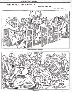 Célèbre caricature de Caran d'Ache parue en 1898 pendant l'Affaire Dreyfus.