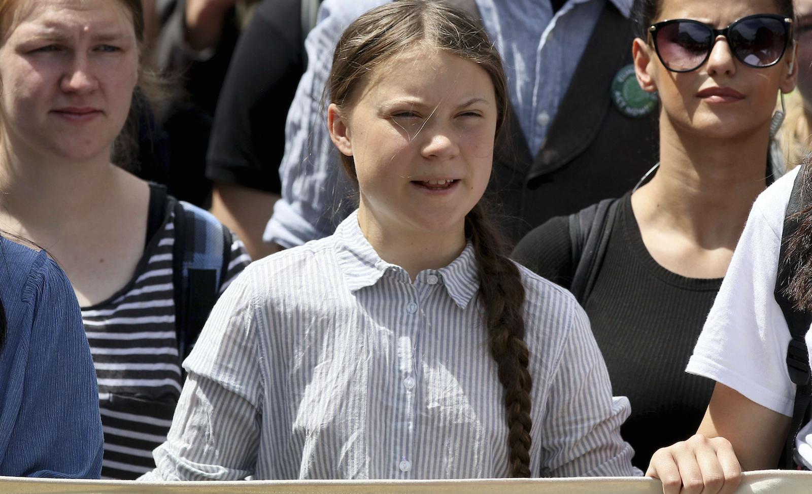 Greta Thunberg manifestant en Autriche © Ronald Zak/AP/SIPA Numéro de reportage : AP22342086_000003