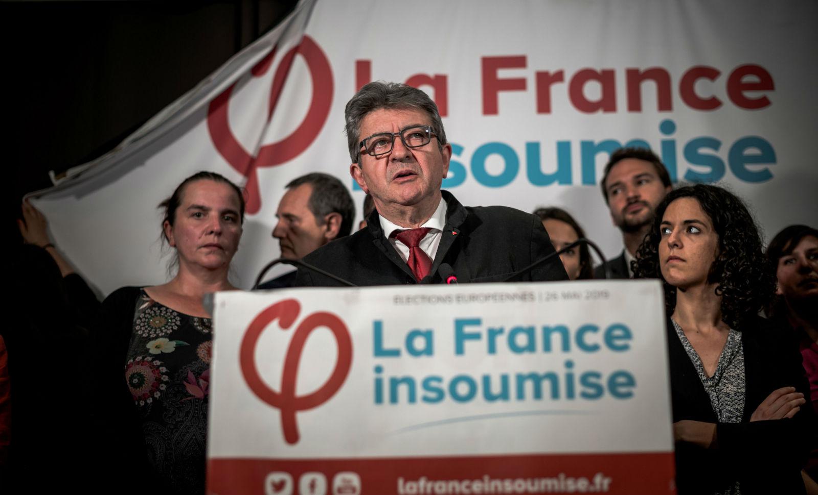 Jean-Luc Mélenchon et les Insoumis le soir du scrutin du 26 Mai 2019. © NICOLAS MESSYASZ/SIPA Numéro de reportage : 00909410_000008