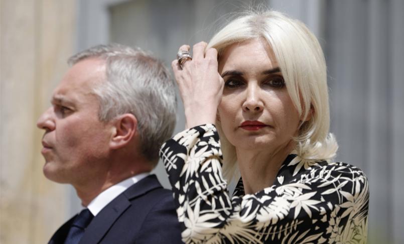 François de Rugy et sa femme Séverine le jour de la passation de son ministère, le 17 juillet. © SIPA, AP22358359_000007