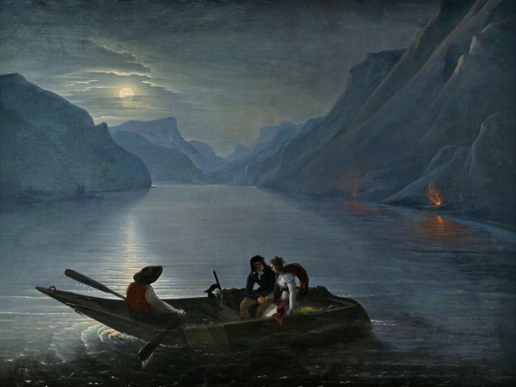 Promenade de Julie et Saint-Preux sur le lac de Genève, Charles-Edouard Le Prince (baron de Crespyl), 1824.