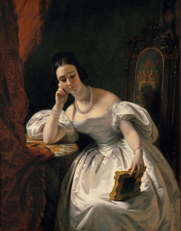 Jeune fille au portrait, Edouard Dubufe, vers 1840. Photo : Musée des Arts décoratifs / MAD