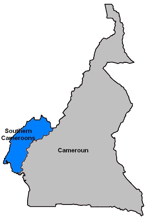 Carte du Cameroun. En bleu, la région dont des terroristes anglophones réclament l'indépendance