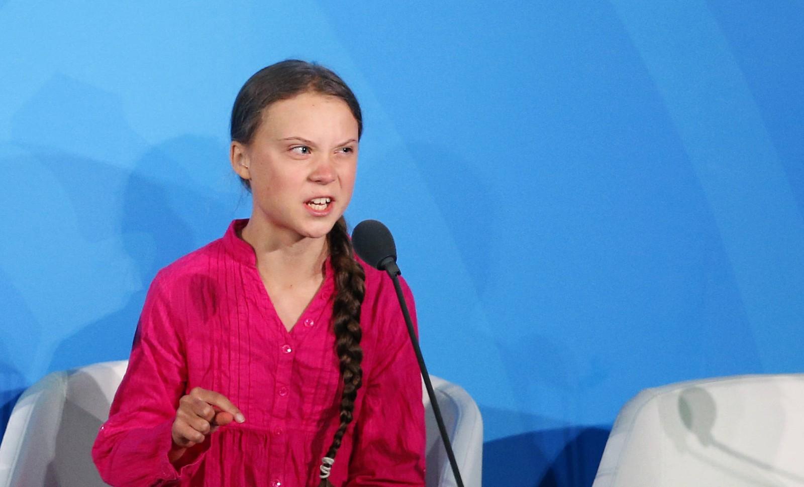 """Greta Thunberg le 23 septembre 2019, occupe l'imaginaire de nombre de fanatiques du """"progressisme"""" et de l'écologi © Jason DeCrow/AP/SIPA Numéro de reportage: AP22380946_000001"""
