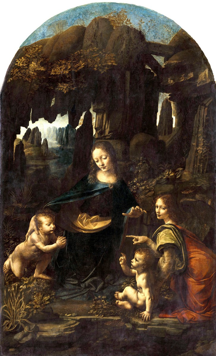 Léonard de Vinci, Vierge a l'Enfant avec saint Jean Baptiste et un ange, dite La Vierge aux rochers ® RMN-Grand Palais (musee du Louvre) Michel Urtado
