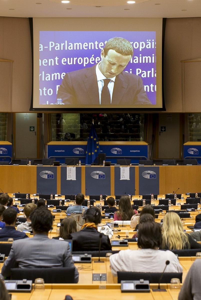 Auditio de Mark Zuckerberg au Parlement européen, Bruxelles, 22 juin 2018. © AFP