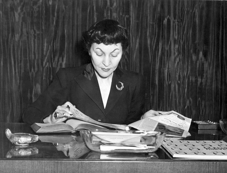La philosophe Doria Shafik , figure emblématique du mouvement égyptien de libération des femmes dans les années 1940. (c) AFP