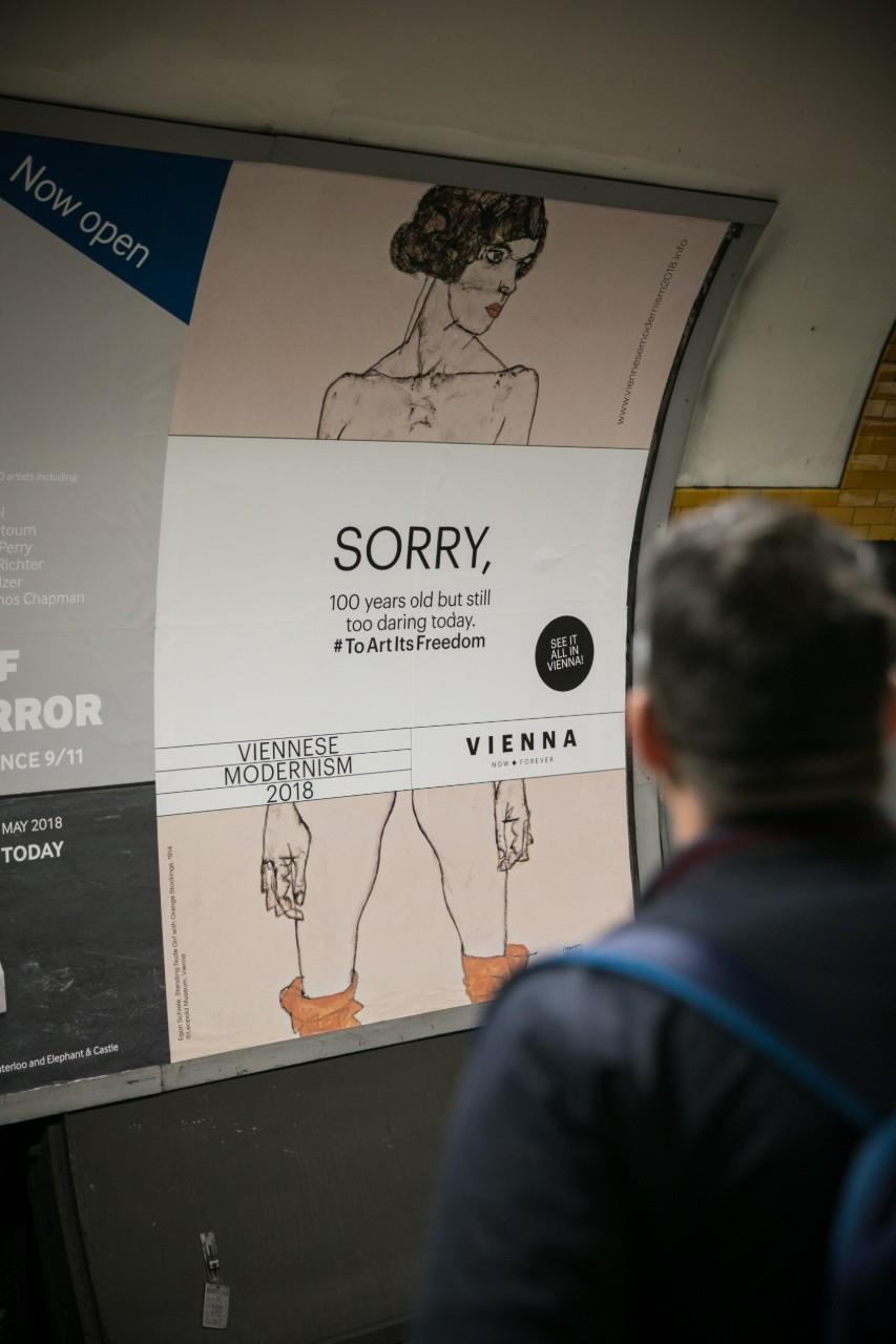 Des affiches pour une exposition consacrée à Egon Schiele censurées dans le métro londonien, novembre 2017. (c) Christian LENDL / VIENNA TOURIST BOARD