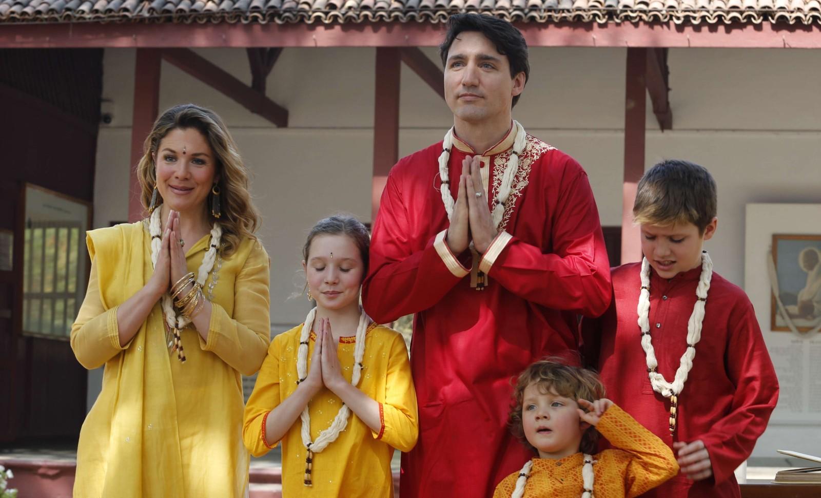 Le Premier ministre canadien Justin Trudeau et sa famille en visite en Inde, en 2018 © Ajit Solanki/AP/SIPA Numéro de reportage : AP22168313_000001