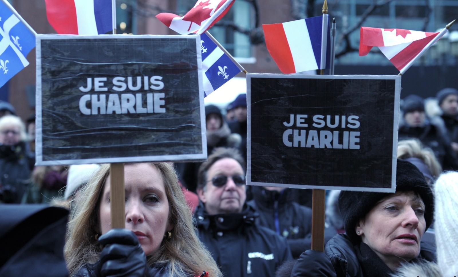 Marche républicaine, en solidarité avec le peuple français, Montréal, 11 janvier 2015. © Marc BRAIBANT/ AFP