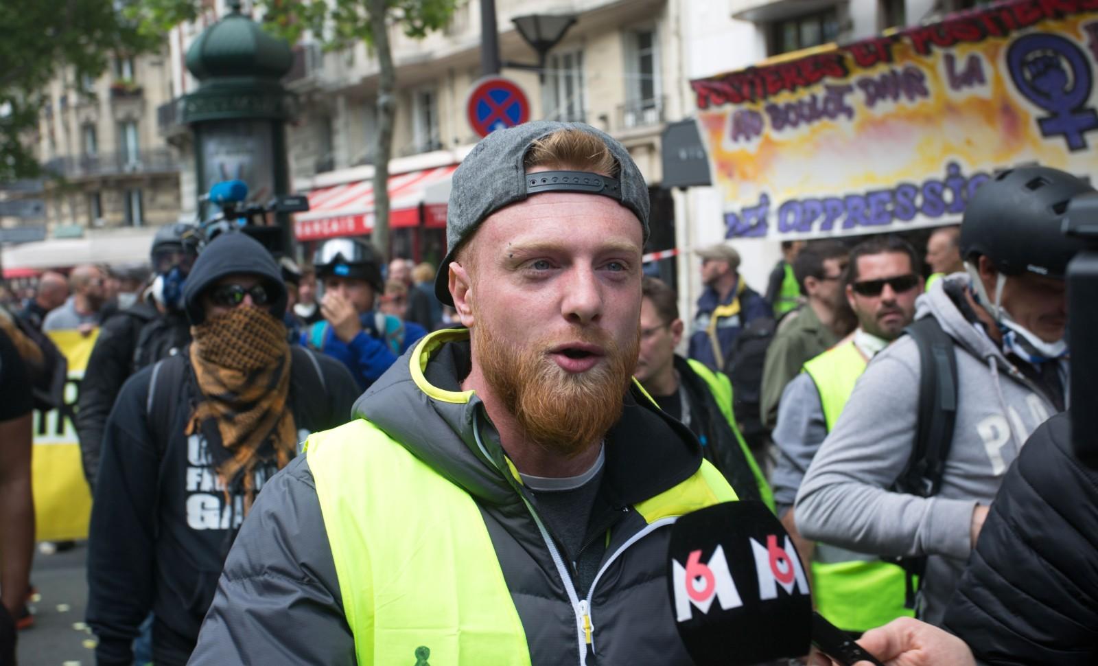 Le gilet jaune Maxime Nicolle dans une manifestation en 2019 à Paris © Yann Bohac/SIPA Numéro de reportage: 00906116_000004